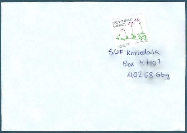 vart skriver man adress på brev
